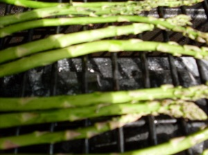 Asparagus for sushi: On the grill.