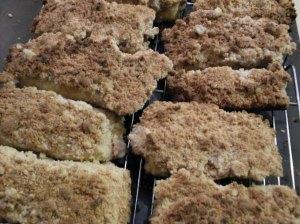 Crumb buns cooling on rack.