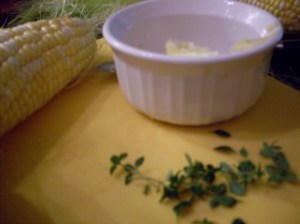 Corn and butter with herbs