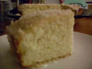 Blurry photo of cake.