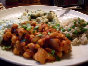 Chana masala and side dishes.