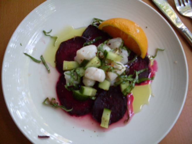 "Scallop ceviche on a beet ""carpaccio."" See recipe, below."