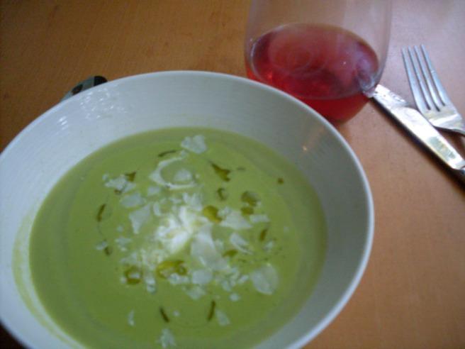 Chilled zucchini and basil soup.