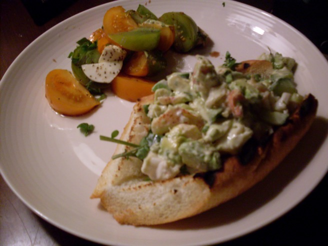 We had to wait a bit to eat the lobster roll, which is why this one looks darker than the others. Because it had gotten dark out. And after this, neither of us had any more room for food. But this was delicious, with cucumber and avocado and watercress, and lots of lemon.