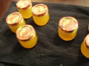 Seven cute little jars with fruity lids and I smile and smile and smile.