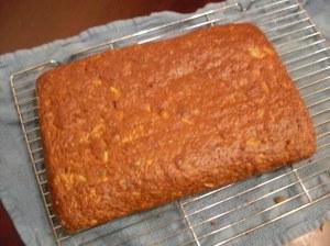 Cake on rack.