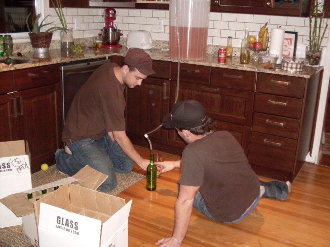 The dress code for bottling night was brown shirts and hats.