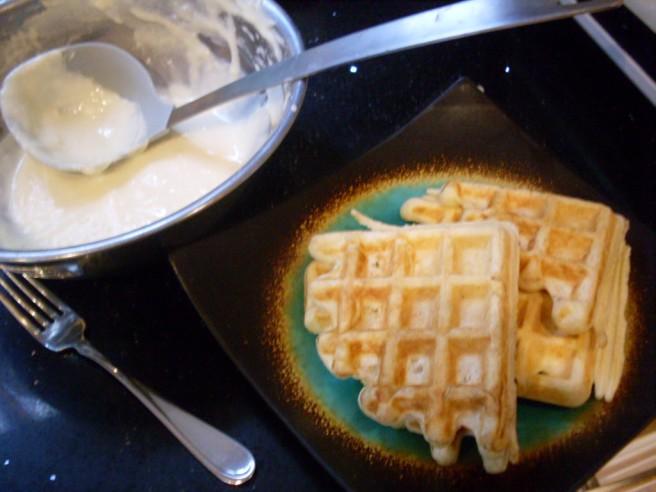Making breakfast.