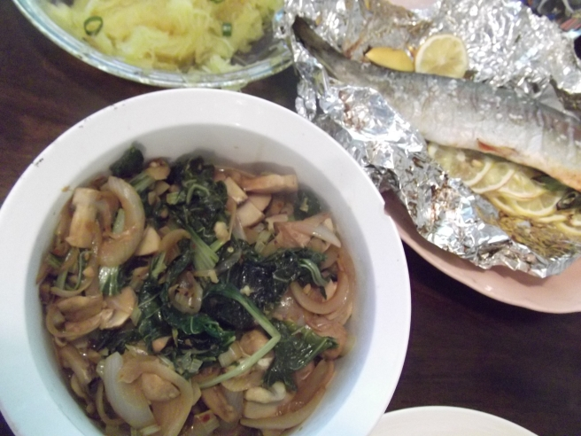Bok choi and mushrooms with trout