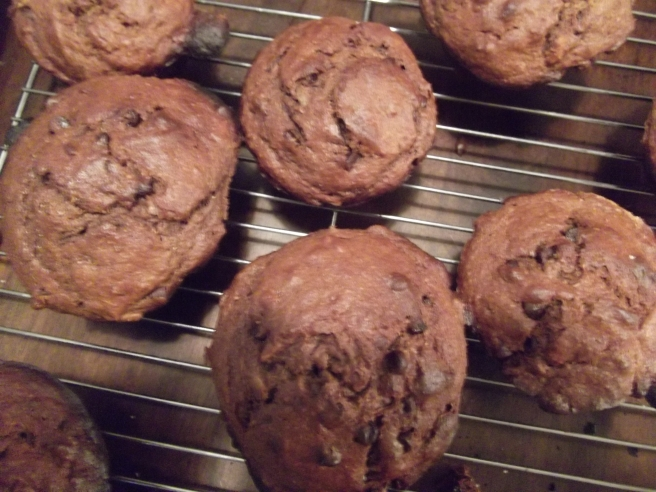 Peanut butter chocolate banana muffins
