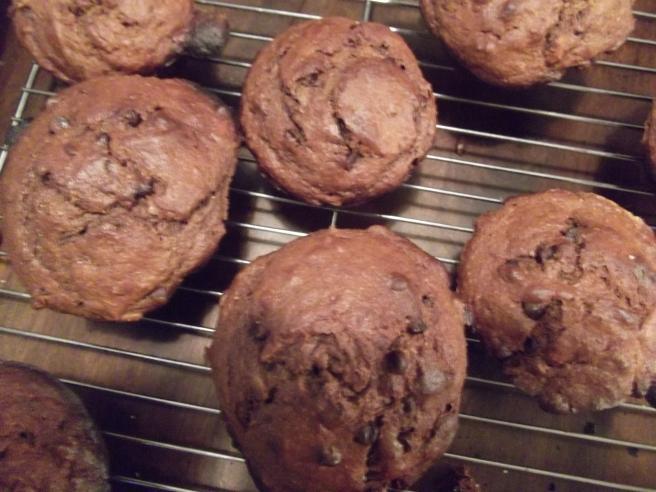 Peanut butter chocolate banana muffins