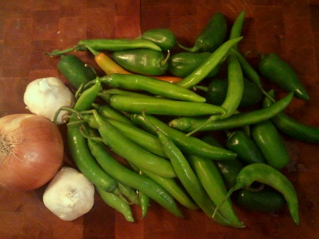 Serrano and jalapeno peppers