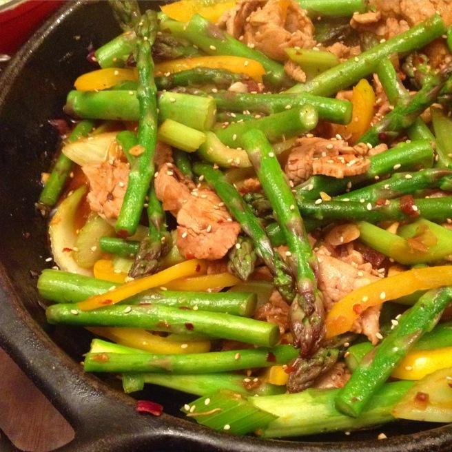 Stir-fried asparagus with velvet pork