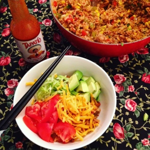 Taco fried rice with toppings