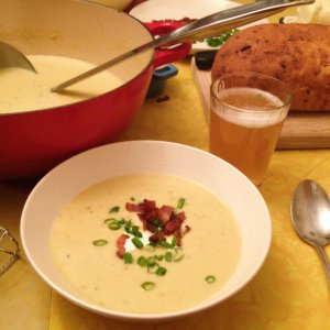 Dutch mustard soup with bacon and scallions.