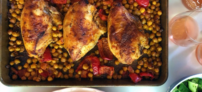Sheet pan chicken with chickpeas and red peppers.